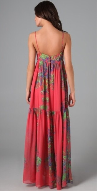 Coral Maxi Dress by Halston Heratige Maxi Floral Print Formal Summer Designer