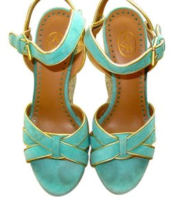 Ash Cork Raffia Platform High Summer Spring Sandals Cute Turquoise Wedges
