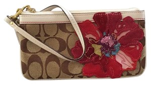 Coach Wristlet in Tan Signature With White Leather Accents