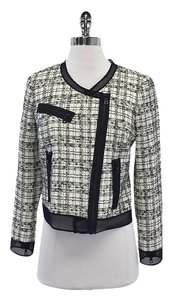 MILLY White & Black Tweed Mesh Moto Jacket
