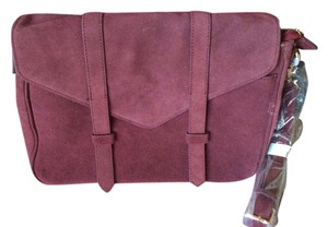 Violetta Suede Leather Burgundy Messenger Bag