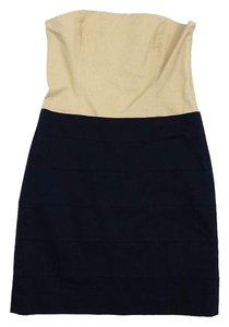Theory short dress Beige Navy Cotton Strapless on Tradesy