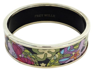 Frey Willie Gold Bordered Floral Enamel Bangle