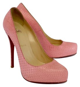Christian Louboutin Pink Snakeskin Leather Pumps