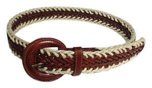 Geomo Fashions Geomo Fashions Canvas and Leather Vintage Woven Belt - Size Medium