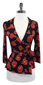 Diane von Furstenberg Red Black Floral Wrap Top
