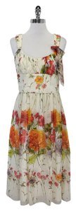 David Meister short dress Ivory Floral Silk on Tradesy