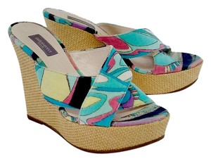 Emilio Pucci Multi Color Criss Cross Strap Wedges