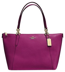 Coach Satchel Leather Satchel Tote in GOLD/FUCHSIA