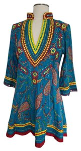 Barbara Gerwit short dress teal, red, yellow Tunic Paisley Embellished Resort on Tradesy