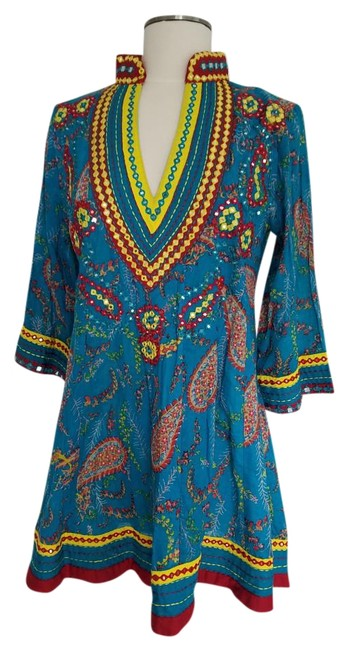 Item - Teal Red Yellow Tunic/Dress Mini Short Casual Dress Size 6 (S)