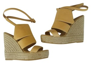 Bettye Muller Wedge Espadrille Tam Leather Light Tan Wedges