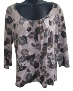 Croft & Barrow Leaf Printed Stretch Casual Top Brown & Tan