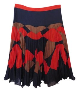 MILLY A-line Full Retro Skirt Navy, red and brown print