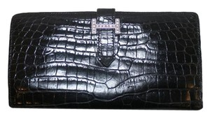 Hermès HERMES BLACK CROCODILE ALLIGATOR BEARN WALLET WITH DIAMOND