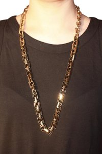 Ann Taylor Long Black and Gold Chain Necklace