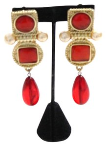 Chanel Vintage Red Gripoix Faux Pearl Dangle Drop Earrings Poured Glass