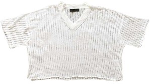 Rag & Bone Vneck Linen Open Stitch Knit Ribbed T Shirt White