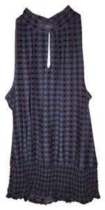 Essentials by Milano Grey with black, cream and turquoise colored dots Halter Top