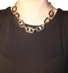 Ann Taylor Short Chain Gold and Black Necklace