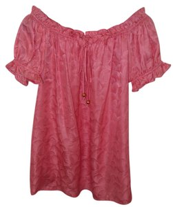 MILLY Silk Peasant Top Pink