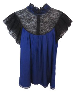 Catherine Malandrino Lace Silk Top Cobalt Blue