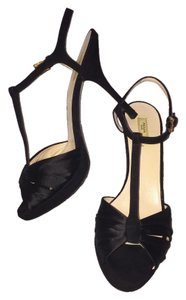 Prada Satin T Strap Black Platforms