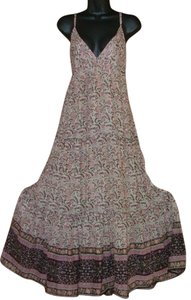 Multi Brown Pink Ecru Maxi Dress by Karma Retro Gypsy Gauze