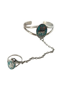 Other VTG Unicorn Turquoise & Silver Hand Piece Cuff Bracelet + Ring Chain