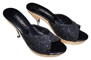 Betsey Johnson Mirrored Heel Heels Black glitter / wood grain Pumps