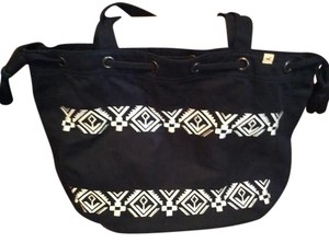 Hollister Tote in Navy Blue with White & Silver
