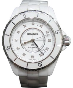 Chanel White Ceramic Diamond Watch J12 1 1/2