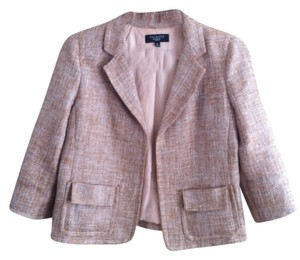 Talbots Brown/White linen Blazer