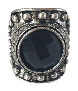 H&M Large Black Stone Vintage Silver Adjustable Ring