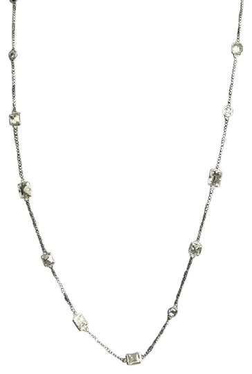 Michael Kors Nwt Michael Kors Silver Tone And Stones Station Necklace 31