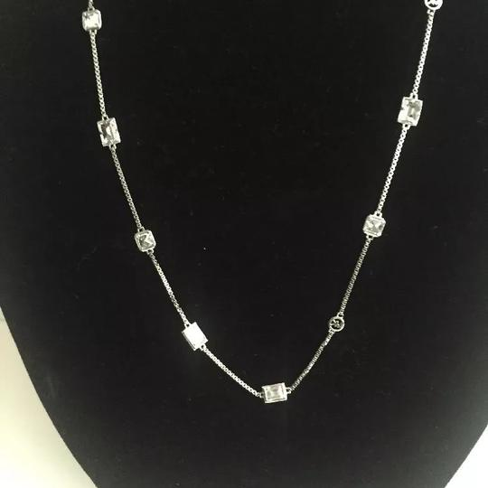 """Michael Kors Nwt Michael Kors Silver Tone And Stones Station Necklace 31"""""""