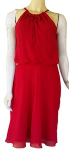 Banana Republic short dress Red Blouson Chiffon Tie Neck on Tradesy