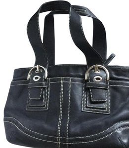 Coach Satchel in Black with White stitching