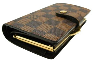 Louis Vuitton France Damier Ebene French Kisslock Bifold Wallet with Coin Pocket