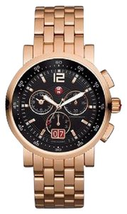 Michele Nwt sport sail large rose gold black dial watch mww01k000087 $1300