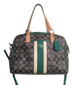 Coach Tote in Blue green and beige
