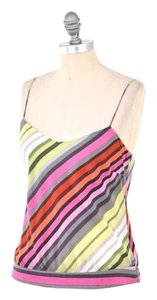 Theory Striped Spaghetti Strap Silk Top Rainbow