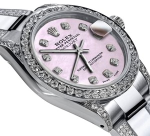 Rolex Women's 26mm s/s Oyster Perpetual Datejust Pink Custom Diamonds Dial