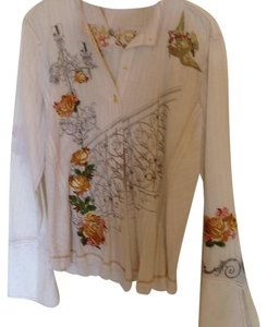 3J Workshop Top Cream with multi embroidery
