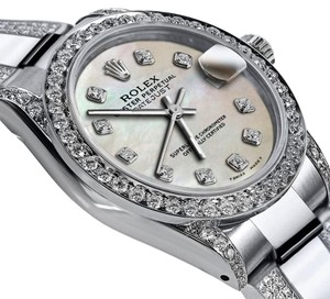 Rolex Women's 31mm s/s Oyster Perpetual Datejust White Tone Diamond Dial