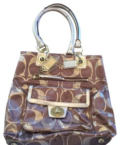 Coach Tote in Brown & Gold