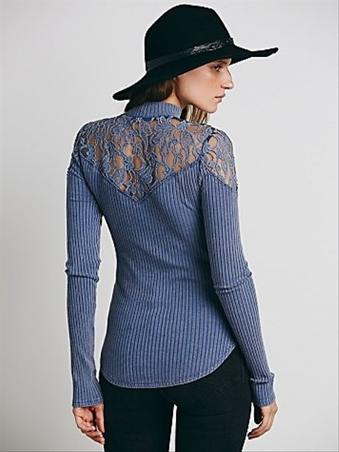 Free People Prudence Mock Neck Wear Front Or Back Reversible Super Lace Sweater