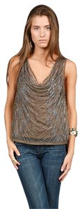 Twelfth St. by Cynthia Vincent Sequin Beaded Cowl Neck Top Tortoise