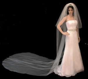 White Extra Long Royal Cathedral Two Layer Wedding Veil