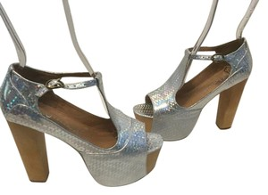 Jeffrey Campbell Padded Insoles Base Silver acrylic open toe wood Platforms